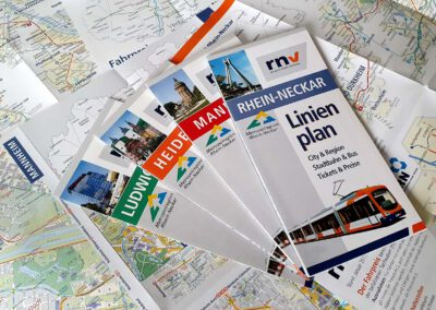 Linienfaltpläne verschiedener Städte der Metroplregion Rhein-Neckar