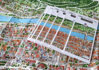 Handgezeichneter Stadtplan von Heidelberg